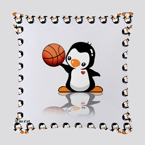 Basketball Penguin Woven Throw Pillow