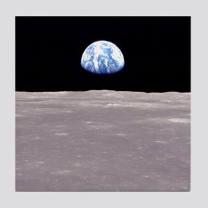 Earthrise on Moon Apollo 11 Tile Coaster
