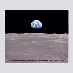 Earthrise on Moon Apollo 11 Throw Blanket