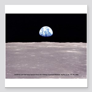 "Earthrise on Moon Apollo Square Car Magnet 3"" x 3"""