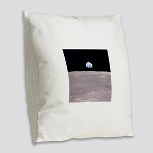 Apollo 11Earthrise Burlap Throw Pillow