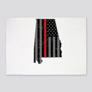 Alabama Firefighter Thin Red Line 5'x7'Area Rug