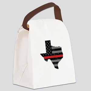 Texas Firefighter Thin Red Line Canvas Lunch Bag