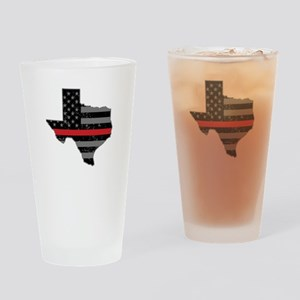 Texas Firefighter Thin Red Line Drinking Glass