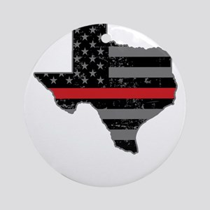 Texas Firefighter Thin Red Line Round Ornament