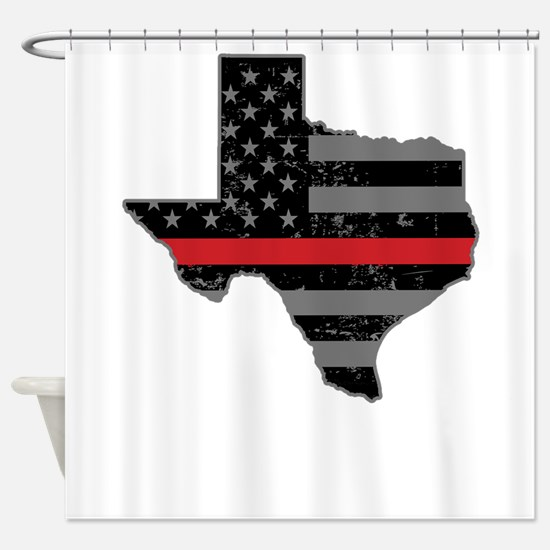 Texas Firefighter Thin Red Line Shower Curtain