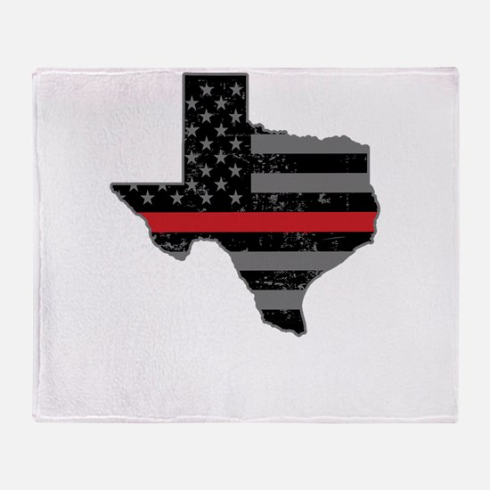 Texas Firefighter Thin Red Line Throw Blanket