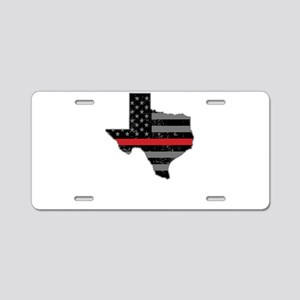 Texas Firefighter Thin Red Aluminum License Plate