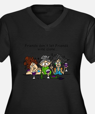 Unique Best friends Women's Plus Size V-Neck Dark T-Shirt