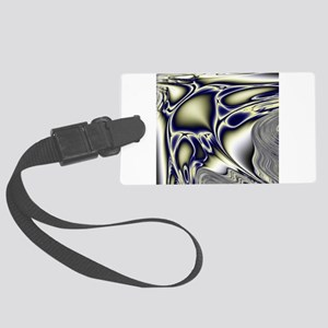 Silver Blue Sting Ray Fractal Large Luggage Tag