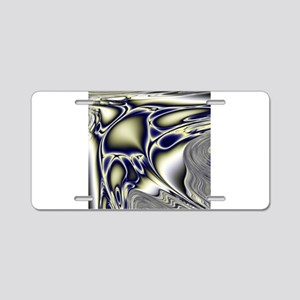 Silver Blue Sting Ray Fract Aluminum License Plate