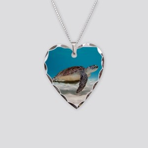 Sea Turtle Necklace Heart Charm