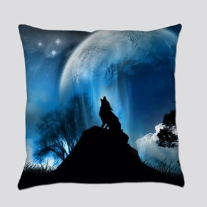 Wolf Howling At The Moon Everyday Pillow