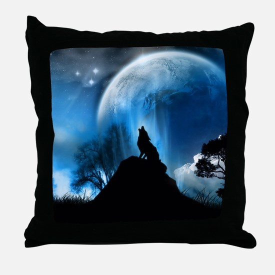 Wolf Howling At The Moon Throw Pillow