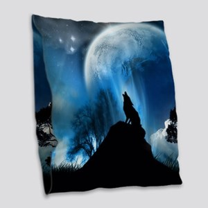 Wolf Howling At The Moon Burlap Throw Pillow