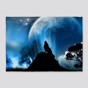 Wolf Howling At The Moon 5'x7'Area Rug
