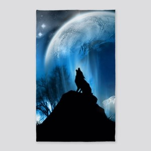 Wolf Howling At The Moon Area Rug