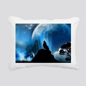 Wolf Howling At The Moon Rectangular Canvas Pillow