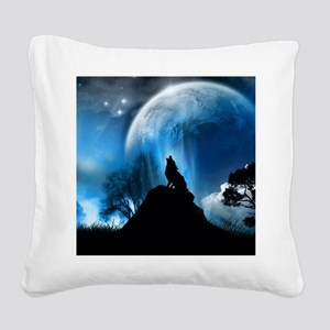 Wolf Howling At The Moon Square Canvas Pillow