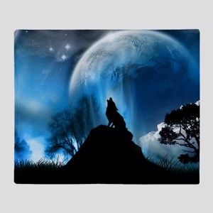 Wolf Howling At The Moon Throw Blanket