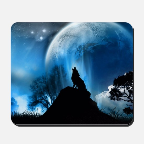 Wolf Howling At The Moon Mousepad