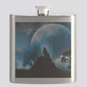Wolf Howling At The Moon Flask