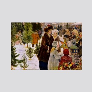 Christmas Market, 1906 Painting Rectangle Magnet