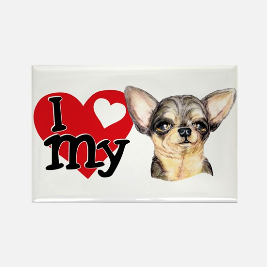 Love My B&T Chihuahua Rectangle Magnet