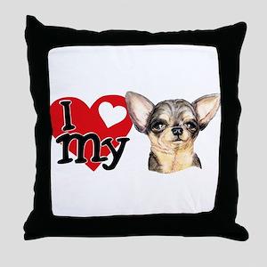 Love My B&T Chihuahua Throw Pillow