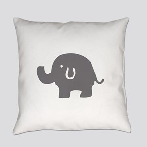 Cute Gray And White Elephant Everyday Pillow