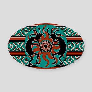 Tribal Turquoise Kokopelli Oval Car Magnet
