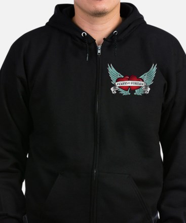Always and Forever Rockabilly Winged Heart Zip Hoodie