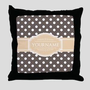 Chocolate Brown White Polkadot Custom Throw Pillow