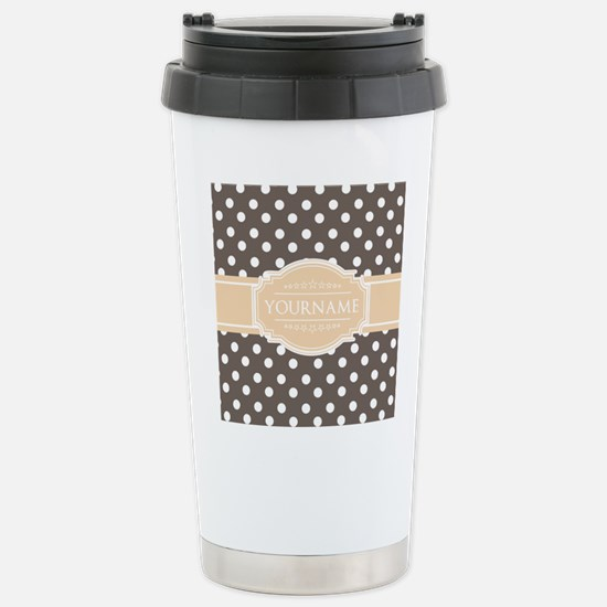 Chocolate Brown White P Stainless Steel Travel Mug