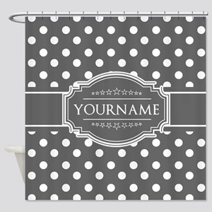 Charcoal Gray Polkadots Personalize Shower Curtain