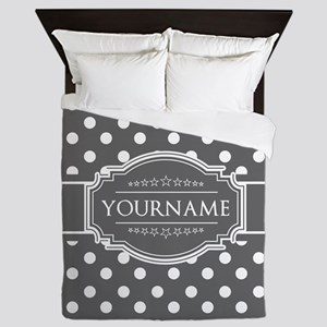 Charcoal Gray Polkadots Personalized Queen Duvet