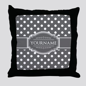Charcoal Gray Polkadots Personalized Throw Pillow