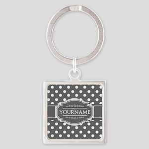 Charcoal Gray Polkadots Personaliz Square Keychain