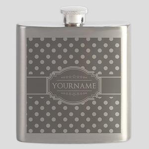 Charcoal Gray Polkadots Personalized Flask