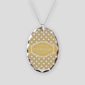 Custom Olive Green Polkadots Necklace Oval Charm