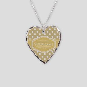 Custom Olive Green Polkadots Necklace Heart Charm