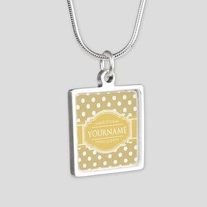 Custom Olive Green Polkado Silver Square Necklace
