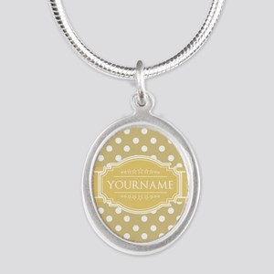 Custom Olive Green Polkadots Silver Oval Necklace