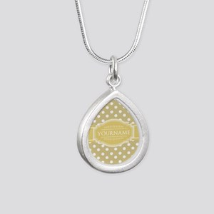 Custom Olive Green Polka Silver Teardrop Necklace