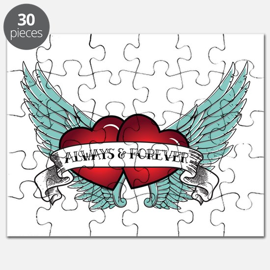 Always And Forever Rockabilly Winged Heart Puzzle
