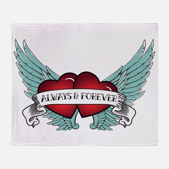 Always And Forever Rockabilly Winged Throw Blanket