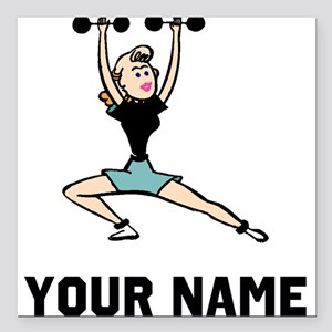 "Woman Weightlifting Square Car Magnet 3"" x 3"""