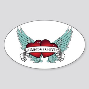 Always And Forever Rockabilly Winged Heart Sticker