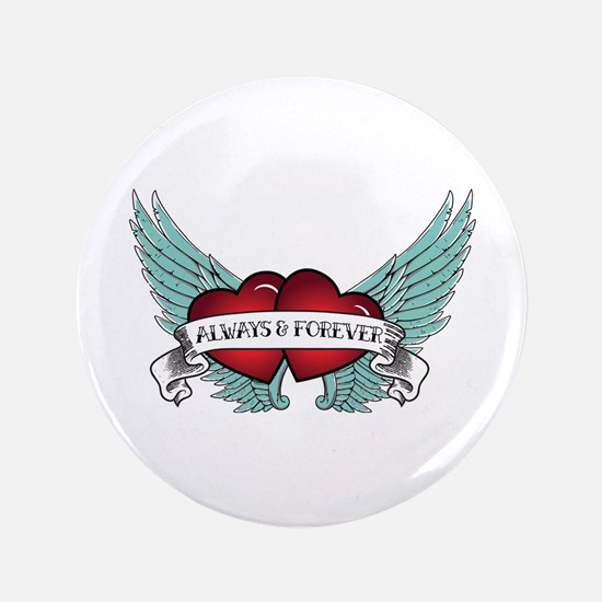 Always And Forever Rockabilly Winged Heart Button