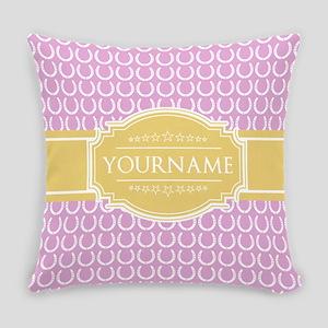 Pink Horseshoe Yellow Custom Name Everyday Pillow